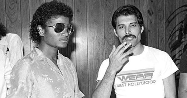 michael jackson and queen black and white photo