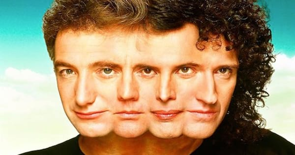 artwork of queen band's heads morphed together