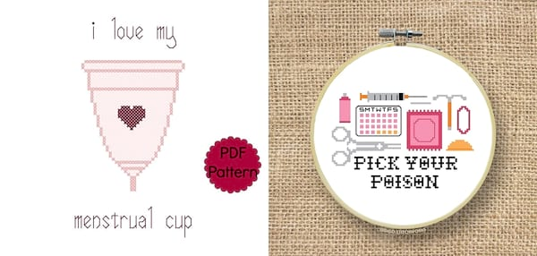 Adorable Period Products, two cross stitch patterns, health