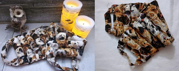 Adorable Period Products, two photos of a microwavable heating pad with a dog pattern, health