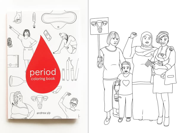 Adorable Period Products, two photos of the Period Coloring Book by Andrea Yip, health