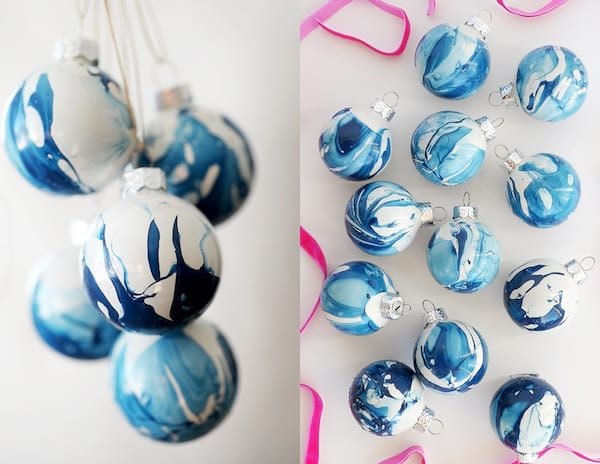 Best DIY Gifts For the Holidays, two photos of blue marbled ornaments, relationships, family