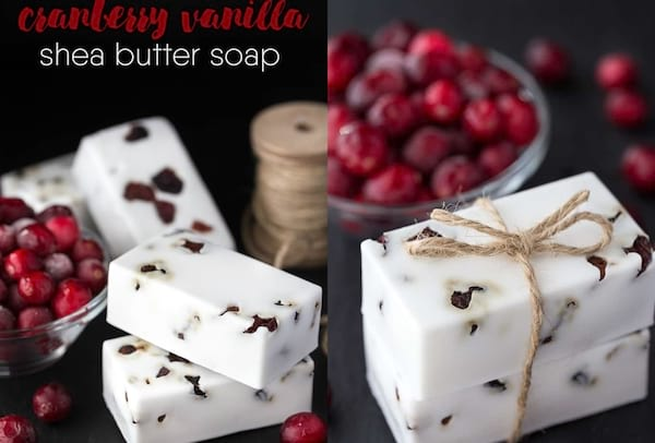 Best DIY Holiday Gifts, two photos of cranberry vanilla shea butter soap, family, relationships