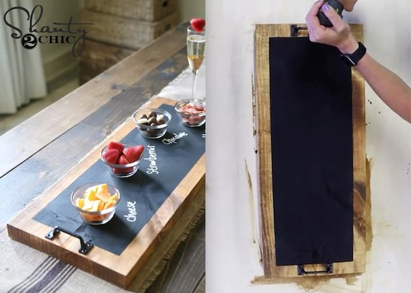 Best DIY Holiday Gifts, two photos of a chalkboard serving tray, family, relationships