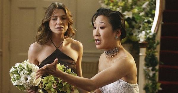 cristina in wedding dress with meredith