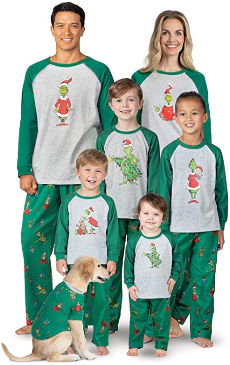 The Grinch matching family Christmas pajamas from Amazon