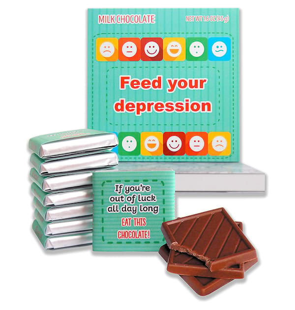 Feed Your Depression milk chocolate box from Amazon