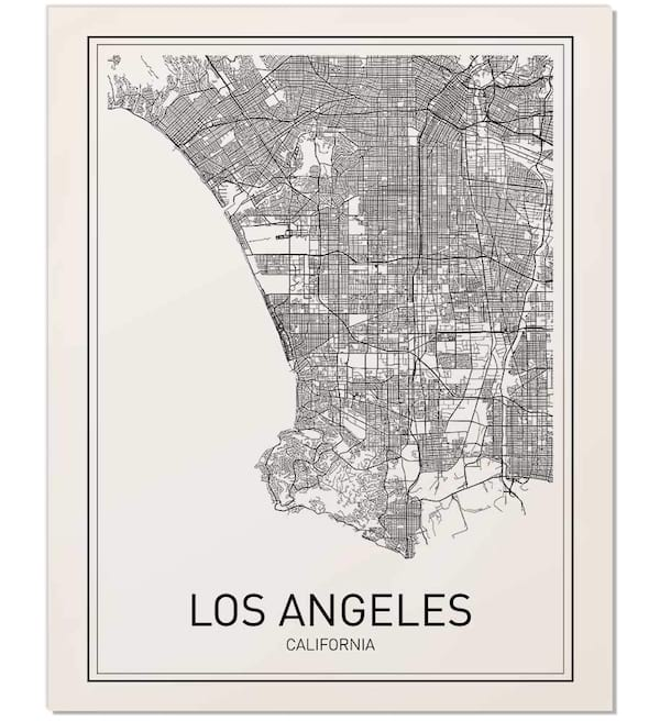 Los Angeles map wall art from Amazon