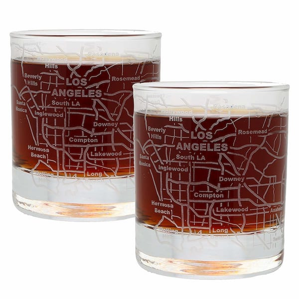 Etched Los Angeles whiskey glasses from Amazon