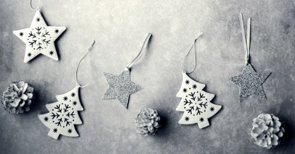 DIY Christmas Ornaments, various DIY Christmas ornaments, white and silver trees, pine cones, and stars