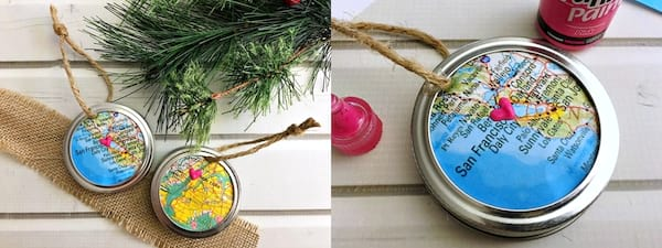 DIY Christmas Ornaments, DIY map Christmas ornaments with a small heart marking a location on the map