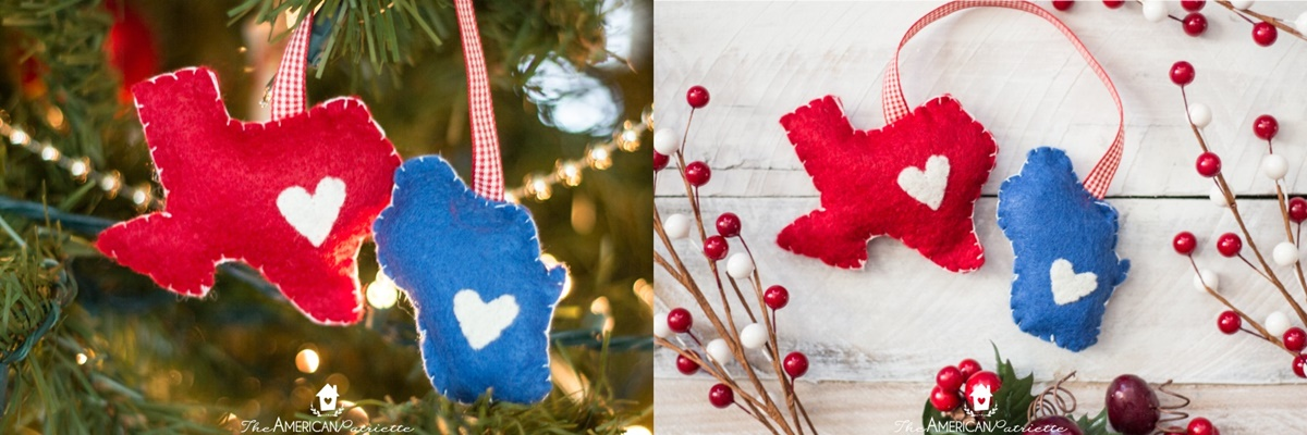 DIY Christmas Ornaments, christmas ornaments made from felt and shaped like Texas and Wisconsin
