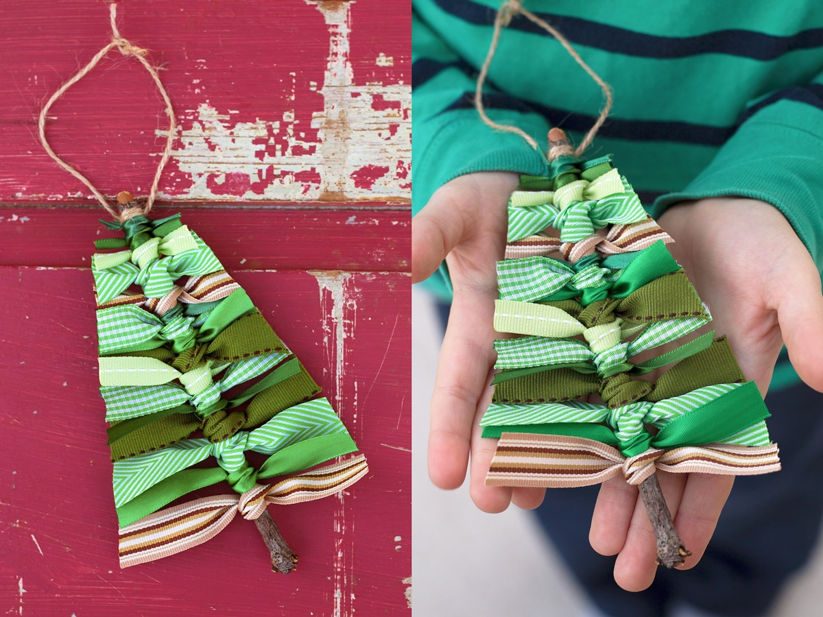 DIY Christmas Ornaments, two photos of DIY Christmas ornaments made from green ribbons and a twig made to look like a Christmas tree