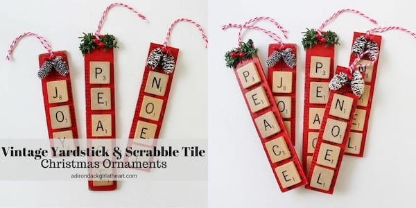 DIY Christmas Ornaments, Christmas ornaments spelling out names with Scrabble tiles