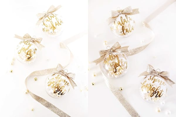 DIY Christmas Ornaments, Christmas bulbs with gold text and pearls inside of them