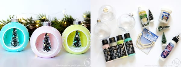 DIY Christmas Ornaments, DIY vintage-style Christmas bulbs with trees in the center