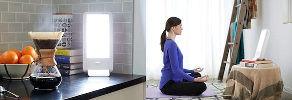 Best SAD Lamps, photo of a SAD lamp on a counter and a photo of a white woman meditating by a SAD lamp, health