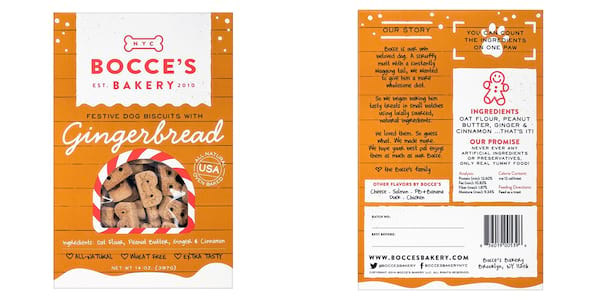 Gifts For Your Pet, two photos of Bocce's Bakery Gingerbread dog biscuits, animals