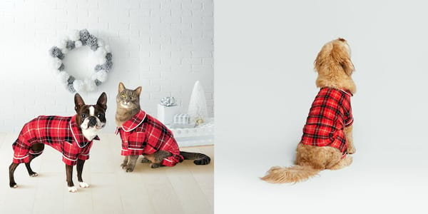 Gifts For Your Pets, two photos of a cat and dog wearing red plaid pajamas, animals