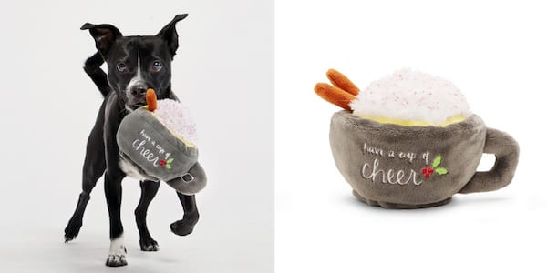 Gifts For Your Pets, two photos of a dog with a toy shaped like a mug