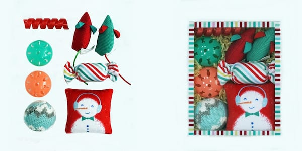 Gifts For Your Pets, two photos of a gift box of winter themed cat toys, animals