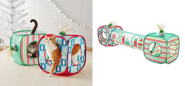 Gifts For Your Pets, two photos of a holiday themed cat tunnel, animals