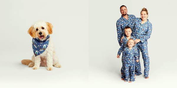 Gifts For Your Pets, two photos with one of a dog in a bandanna and another of a family in matching pajamas to the bandanna, animals