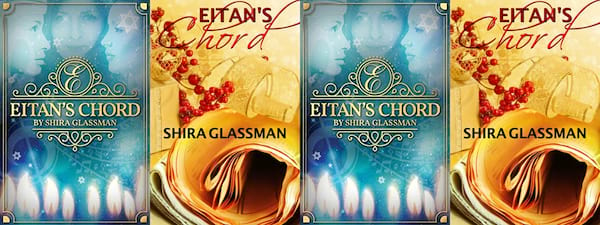 books, two different covers of Eitan's Cord by Shira Glassman, Holiday Books For Bi and Lesbian Romantics