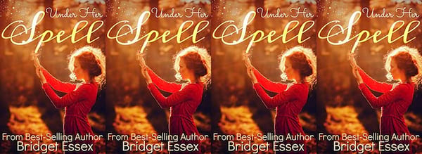 books, the cover of Under Her Spell by Bridget Essex, Holiday Books For Bi and Lesbian Romantics