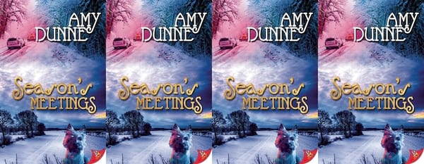books, the cover of Season's Meetings by Amy Dunne, Holiday Books For Bi and Lesbian Romantics