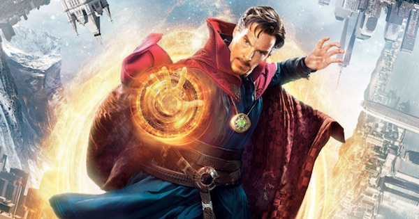 doctor strange using hand for superpowers in the sky, marvel movies