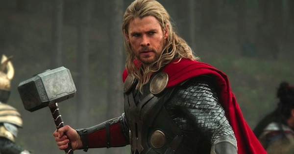 thor holding weapon, marvel movies
