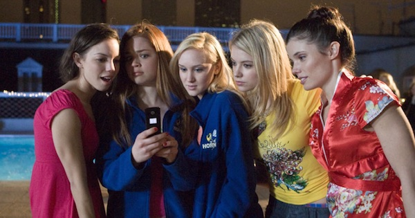 five cheerleaders standing in a huddle over a cell phone outside, cheerleading movies