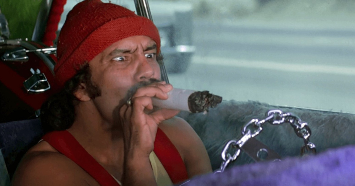 Cheech Marin smoking a huge joint in Up in Smoke