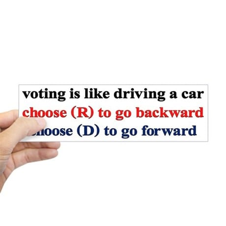Voting is like driving sticker from CafePress