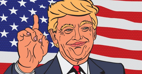 Art of Trump holding up his finger in front of an American flag
