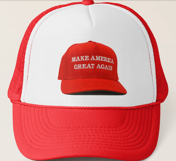 'Make America Great Again' hat on a hat from Zazzle