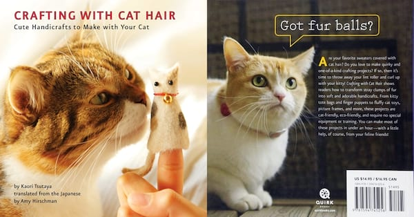 White Elephant Gift Ideas, the front and back covers of the book Crafting with Cat Hair, family