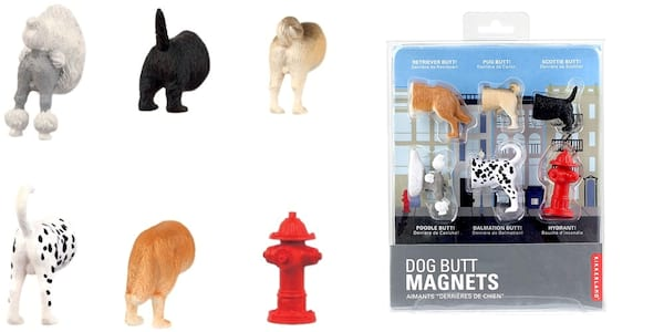 White Elephant Gift Ideas, two photos of dog butt magnets, family