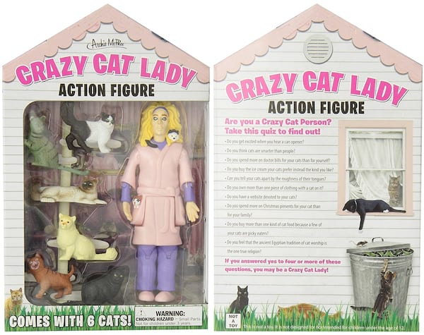 White Elephant Gift Ideas, two photos of a crazy cat lady action figure, family