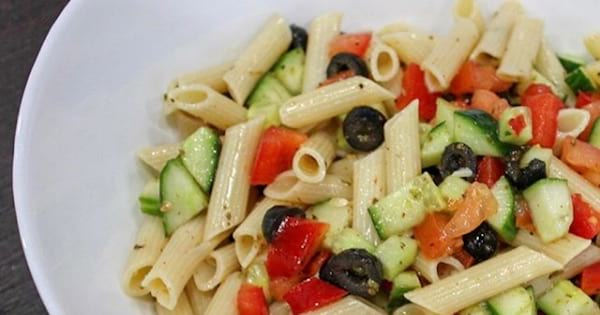 pasta salad in large while bowl, food