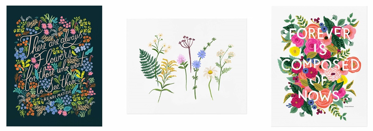 Gift Ideas For People You Don't Know, three art prints that all have floral themes