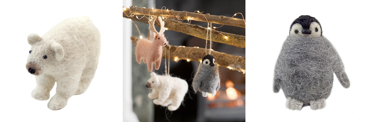 Gift Ideas For People You Don't Know, three photos of felt Christmas decorations, including a polar bear, Reindeer, and penguin
