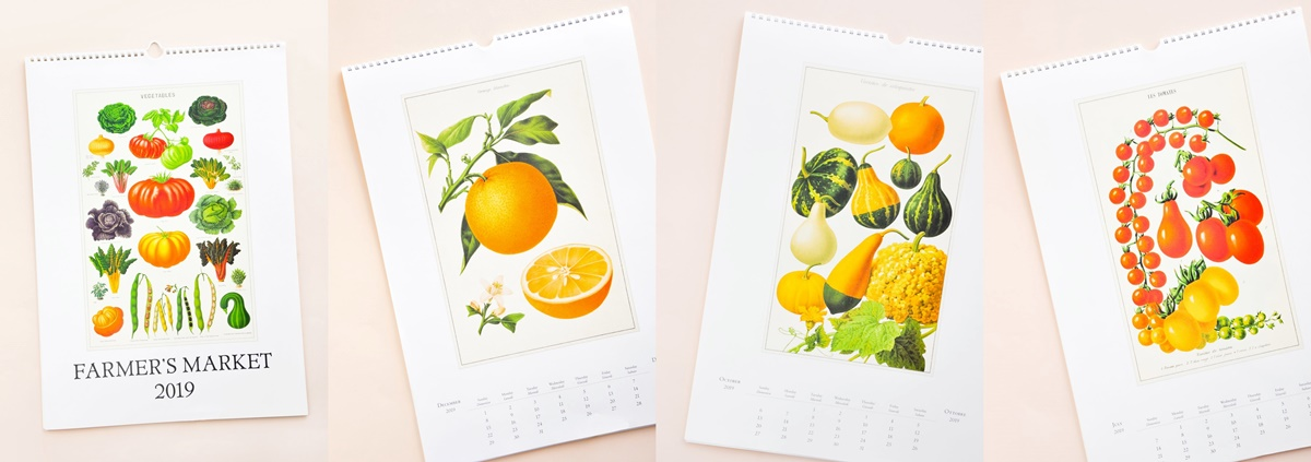 Gift Ideas For People You Don't Know, four photos of a Farmer's Market calendar featuring images of produce