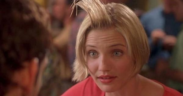 cameron diaz as mary with hair flipped in the air, romantic comedy movies