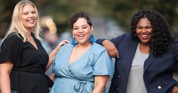 three plus size loft models smiling and laughing, fashion