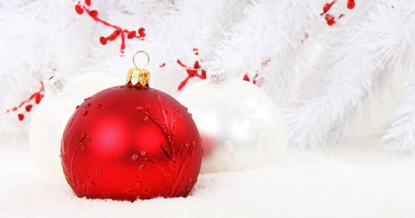 red christmas ornament on white background