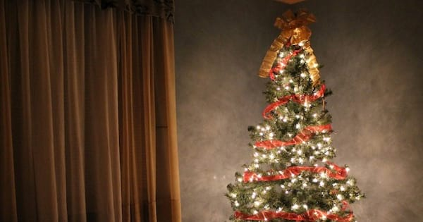 christmas tree with lights ornaments and a bow on top