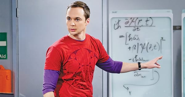 Sheldon Cooper pointing to a whiteboard with equations written all over it on and episode of The Big Bang Theory