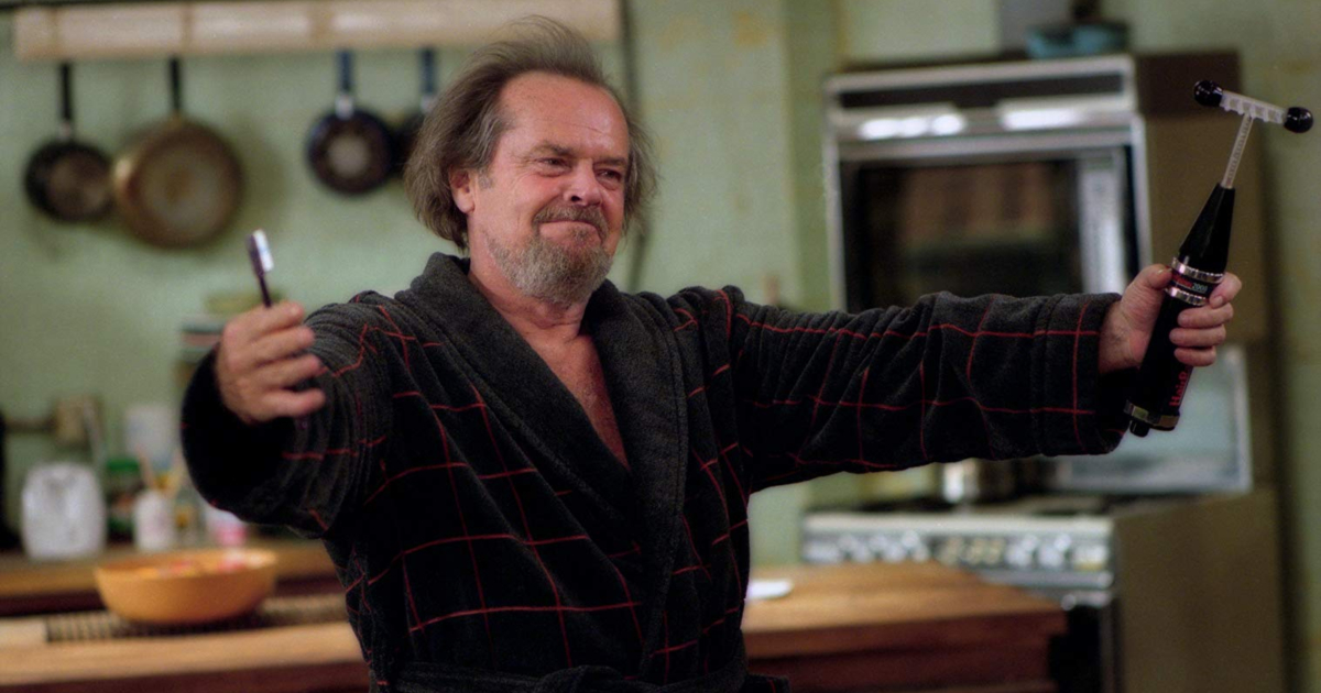 Jack Nicholson holding his violet wand in Anger Management